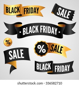 Set of black and gold labels and tags for Black Friday sale