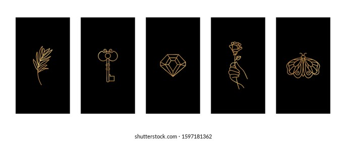 Set Black and Gold stories highlights covers With a butterfly, diamond, twig, hand holding a rose and key.