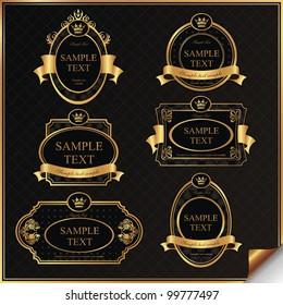 Set of black gold-framed labels in vector