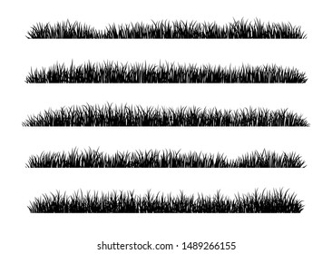 Set of Black Grass Silhouettes Isolated on White Background. Fresh herb: natural, organic, bio, eco label and shape. Vector illustration.