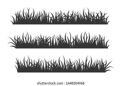 set of black Grass Silhouettes on White Backround icon template color editable. Grass symbol vector sign isolated vector illustration for graphic and web design.
