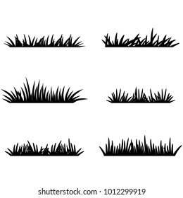 Set of black grass silhouettes. Vector grass template