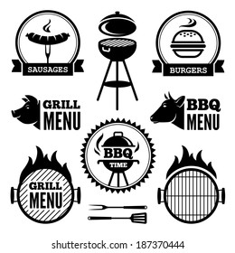 Set of black grill and BBQ symbols and labels
