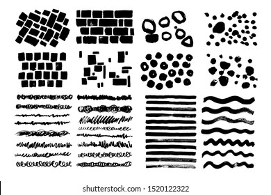 Set of black grunge artistic lines. Curly, chaotic, messy strokes. Hand drawn bricks, dots, patterns.