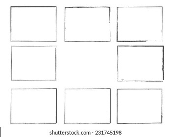 Set of Black Grunge Frames Isolated on White Background . Vector Illustration .