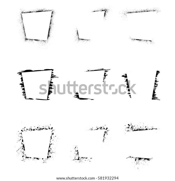 Set of black grunge rectangle frames isolated on white background