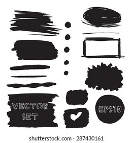 Set of black grunge  watercolor hand painted blots. Vector Illustration EPS10.