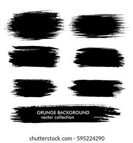 Set of black grungy shapes on white background. Hand drawn banners for your design. Vector illustration.