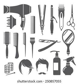 Set of black hairdressing equipment symbols isolated on white background