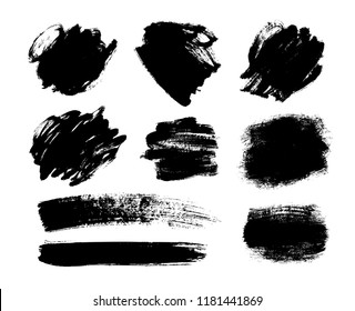 Set of black hand drawn abstract vector brush stroke. Vector black paint. Ink brush stroke. Dirty artistic design box or frame element. Ink brush strokes.