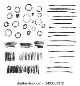Set of black hand drawn doodle pencil scribbles. Handmade texture. Shapes with rough edges. Vector isolated illustration.