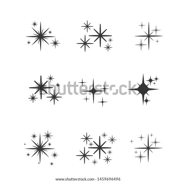 Set of black hand drawn doodle stars. star icon on white background. vector illustration