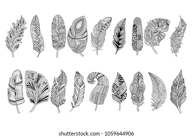 Set of black hand drawn feathers with doodle ornaments. Design for print, adult antistress coloring page or tattoo. Monochrome vector illustration in sketch style