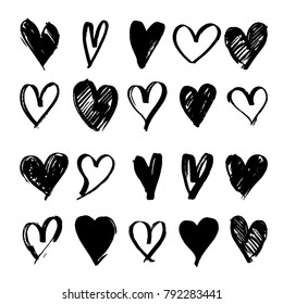 Set of black hand drawn heart. Hand drawn rough marker hearts. For your graphic design. Isolated on white background. Vector illustration