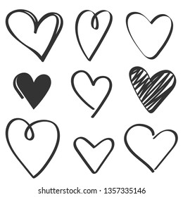 set of black hand drawn hearts on white background