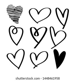 set of black hand drawn hearts Isolated on White Background - vector