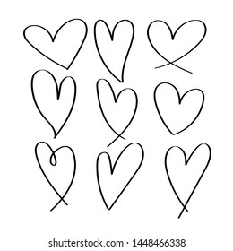 set of black hand drawn hearts Isolated on White Background
