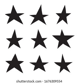 Set of black hand drawn star. Vector collection of uneven stars.