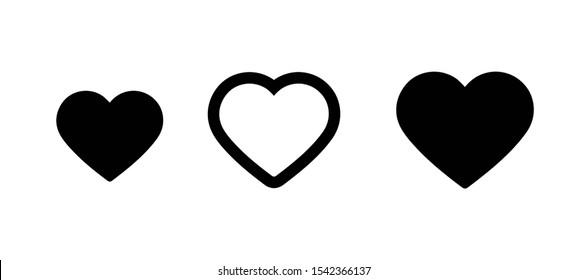 Set of black heart icons