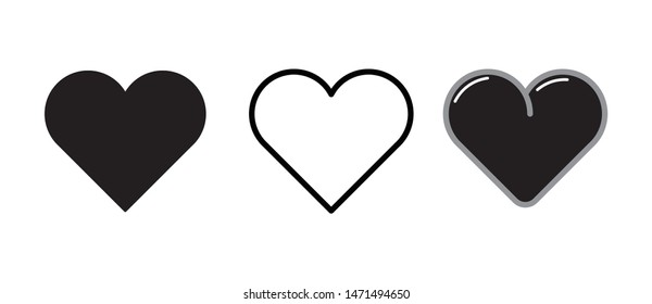 Set of black heart icons Vector
