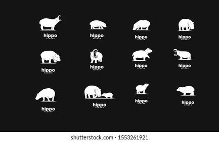 Set of black hippo logo icon design vector illustration