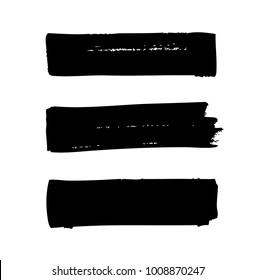 set of black horizontal vector brush strokes
