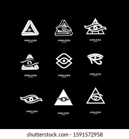 set of black Horus one eye logo icon design vector illustration