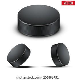 Set of Black Ice Hockey pucks. Vector Illustration. Isolated on white background.