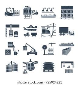 set of black icons air, sea, rail freight terminal, storage