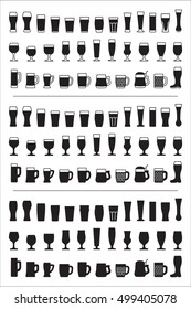 Set of black icons beer glass. Beer glasses, mugs silhouettes. Vector illustration