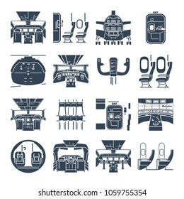 set of black icons cockpit airplane, ship, cabin interior
