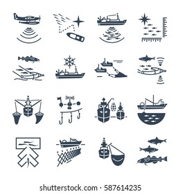 set of black icons commercial fishing process