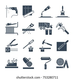set of black icons home repair, construction, renovation, tool