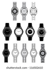 Set of black icons with the image of a female watch. vector