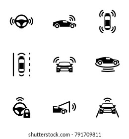 Set of black icons isolated on white background, on theme Autonomous driving