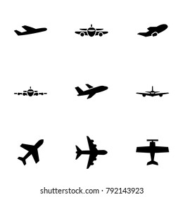 Set of black icons isolated on white background, on theme Aircraft