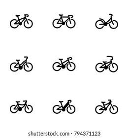 Set of black icons isolated on white background, on theme Bike