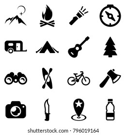 Set of black icons isolated on white background, on theme Camping