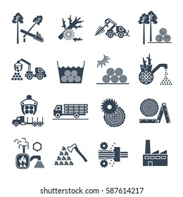 set of black icons logging and forestry production process