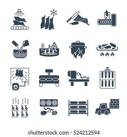 set of black icons manufacture of meat products production process