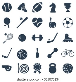Set black icons sports. Vector illustration
