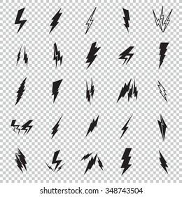 Set of black icons storm lightning. Thunderbolt silhouettes. Set of Thunder Lighting Icons. Lightning bolt vector. Lightning strike icon. Easy to use.