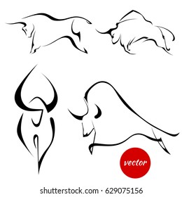Set of black images of bulls. Abstract stylized buffalo on a white background. Vector illustration