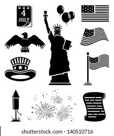 Set of black Independence day icons, illustration.