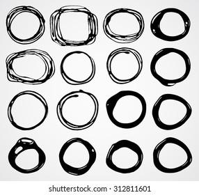 Set of black ink doodle circle, round blob frame.