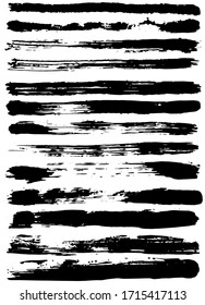 Set of black ink horizontal hand drawn brushes. Abstract isolated grunge lines, or stripes. Vector illustration.