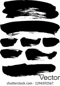 Set of black ink. Ink texture with brush strokes. Black. Stain, horizontal, stripes.  Graphics, modern.Abstraction. Isolated. Vector.