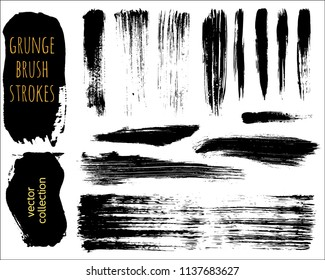 Set of Black ink vector stains. Grunge brush collection
