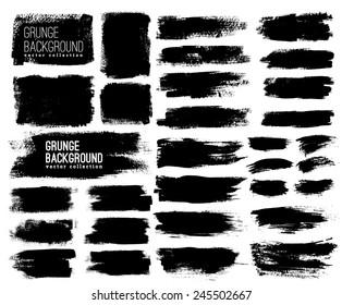Set of Black ink vector stains