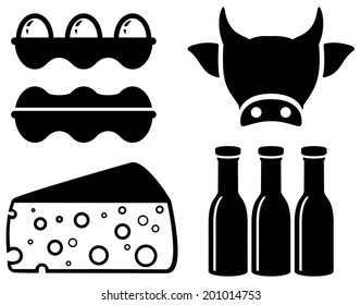 set black isolated food icon for milk production